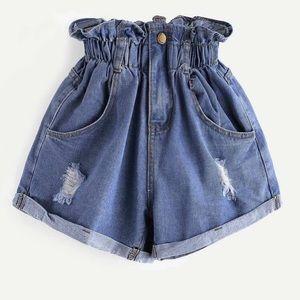 Plus Denim high waisted shorts